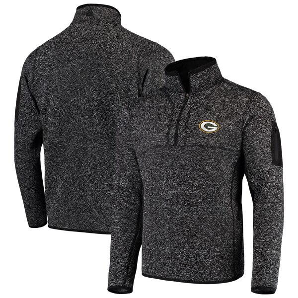 NFL パッカーズ パーカー/フーディー フォーチュン クオーター ジップ プルオーバー ジャケット Antigua ヘザー ブラック