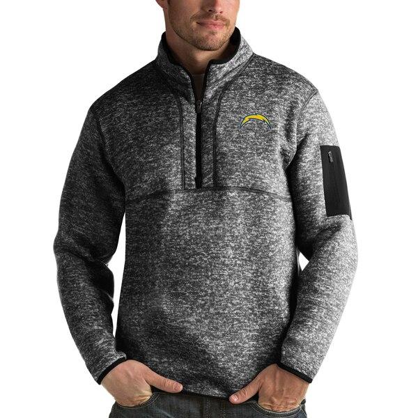 NFL チャージャース パーカー/フーディー フォーチュン クオーター ジップ プルオーバー ジャケット Antigua ヘザー ブラック