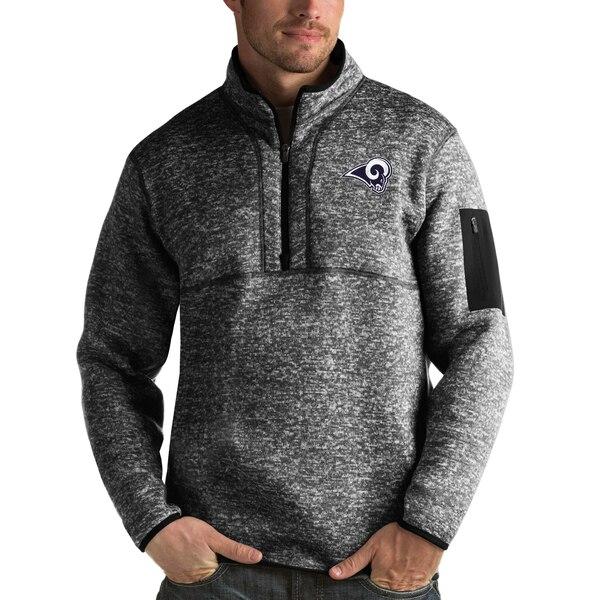 NFL ラムズ パーカー/フーディー フォーチュン クオーター ジップ プルオーバー ジャケット Antigua ヘザー ブラック