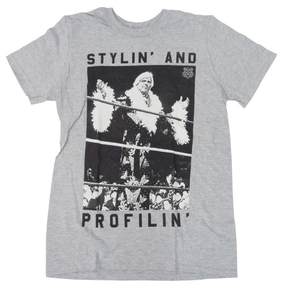 WWE リック・フレアー Tシャツ STYLIN AND PROFILIN WWE Authentic ヘザー ブラック