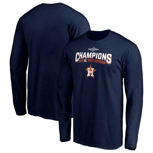 ワールドシリーズ進出 MLB ヒューストン・アストロズ Tシャツ 2019 アメリカン・リーグ 西地区優勝 ロング マジェスティック/Majestic ネイビー【MLBポストシーズン2019】【1112】