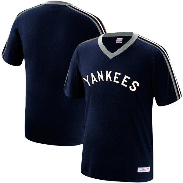 MLB ニューヨーク・ヤンキース Tシャツ オーバータイム ウィン Vネック ミッチェル&ネス/Mitchell & Ness ネイビー