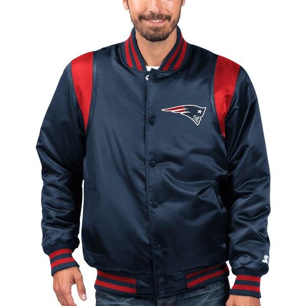 NFL ペイトリオッツ ジャケット/アウター プライムタイム ツイル サテン バーシティ― フルスナップ STARTER