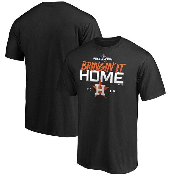 ワールドシリーズ進出 MLB ヒューストン・アストロズ Tシャツ 地区シリーズ ロッカールーム【MLBポストシーズン2019】 マジェスティック/Majestic ブラック【1112】