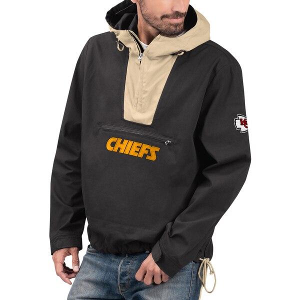 NFL チーフス ジャケット/アウター エクスペディション アノラック ハーフ ジップ プルオーバー G-III ブラック カーキ
