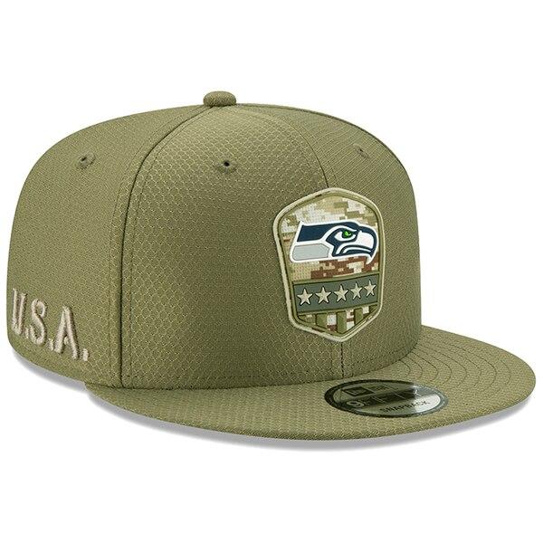 NFL シーホークス キャップ/帽子 2019 サルート トゥ サービス サイドライン 9FIFTY ニューエラ/New Era オリーブ