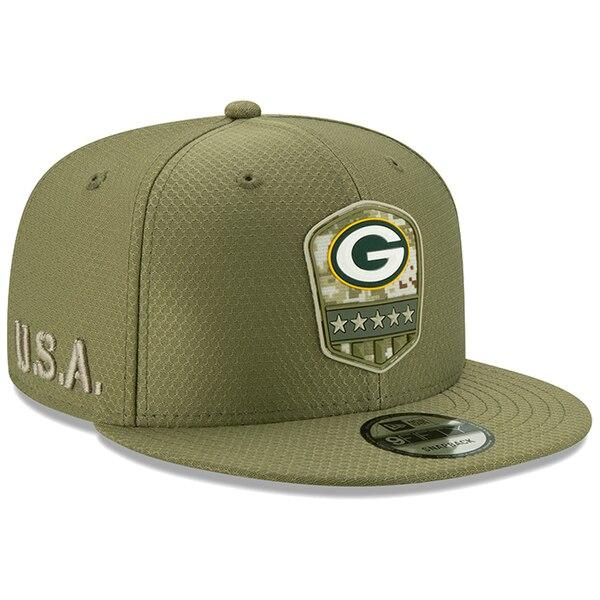 NFL パッカーズ キャップ/帽子 2019 サルート トゥ サービス サイドライン 9FIFTY ニューエラ/New Era オリーブ
