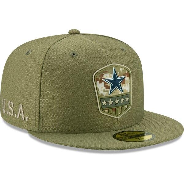 NFL カウボーイズ キャップ/帽子 2019 サルート トゥ サービス サイドライン 59FIFTY ニューエラ/New Era オリーブ