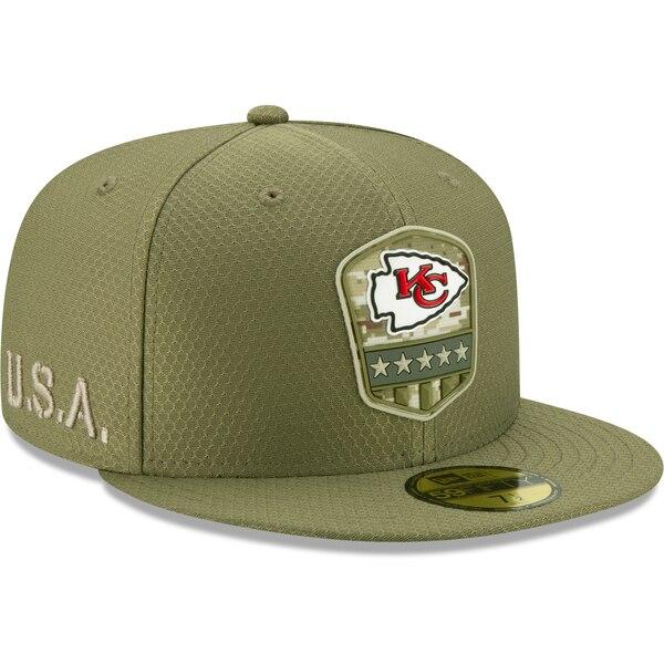NFL チーフス キャップ/帽子 2019 サルート トゥ サービス サイドライン 59FIFTY ニューエラ/New Era オリーブ