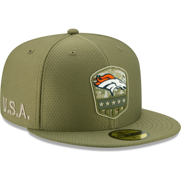 軍人に敬意と感謝を 選手着用モデル特別仕様キャップ 公式ストア NFL ブロンコス キャップ 帽子 2019 サルート トゥ Era サービス オリーブ 1911NFL変更 大規模セール ニューエラ サイドライン New 59FIFTY