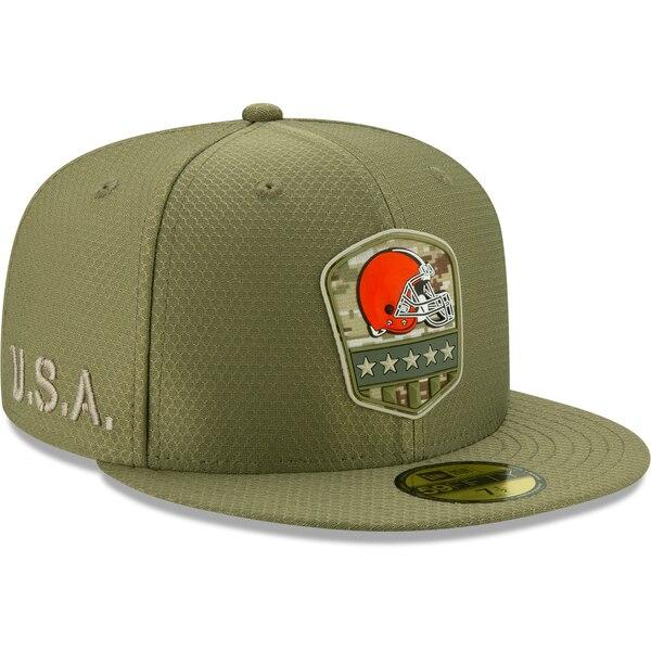軍人に敬意と感謝を 選手着用モデル特別仕様キャップ NFL ブラウンズ キャップ 帽子 2019 サルート トゥ New オリーブ サイドライン Era サービス 59FIFTY ニューエラ お気にいる 1911NFL変更 2020 新作