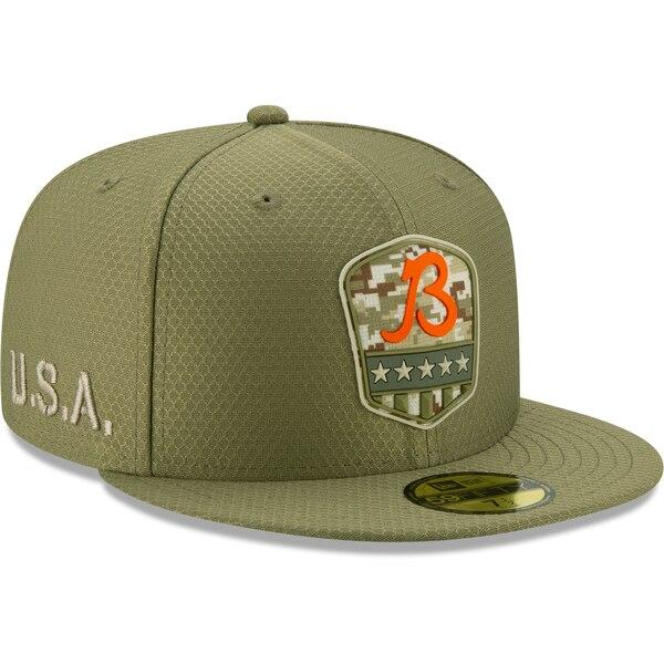 軍人に敬意と感謝を 選手着用モデル特別仕様キャップ NFL ベアーズ キャップ 帽子 2019 サルート トゥ オリーブ 1911NFL変更 サービス サイドライン ブランド激安セール会場 Era 59FIFTY New ニューエラ 選択