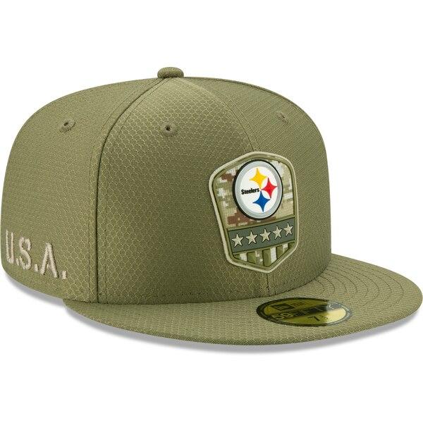 NFL スティーラーズ キャップ/帽子 2019 サルート トゥ サービス サイドライン 59FIFTY ニューエラ/New Era オリーブ