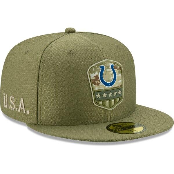 NFL コルツ キャップ/帽子 2019 サルート トゥ サービス サイドライン 59FIFTY ニューエラ/New Era オリーブ【1911NFL変更】