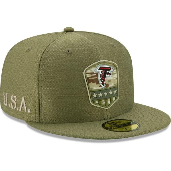 軍人に敬意と感謝を 選手着用モデル特別仕様キャップ NFL ファルコンズ キャップ 帽子 2019 サルート トゥ New 59FIFTY サイドライン 1911NFL変更 おトク サービス ニューエラ オリーブ Era 毎日がバーゲンセール