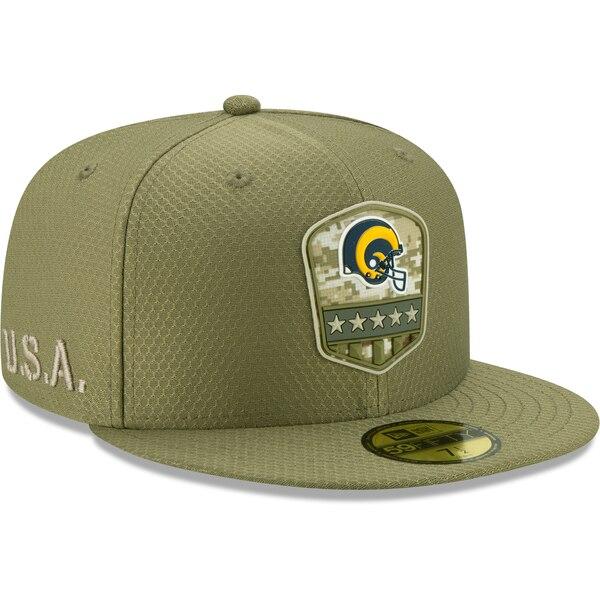 軍人に敬意と感謝を 選手着用モデル特別仕様キャップ 完売 NFL ラムズ キャップ 帽子 2019 サルート トゥ サービス 日本産 オリーブ New ニューエラ Era 59FIFTY 1911NFL変更 サイドライン