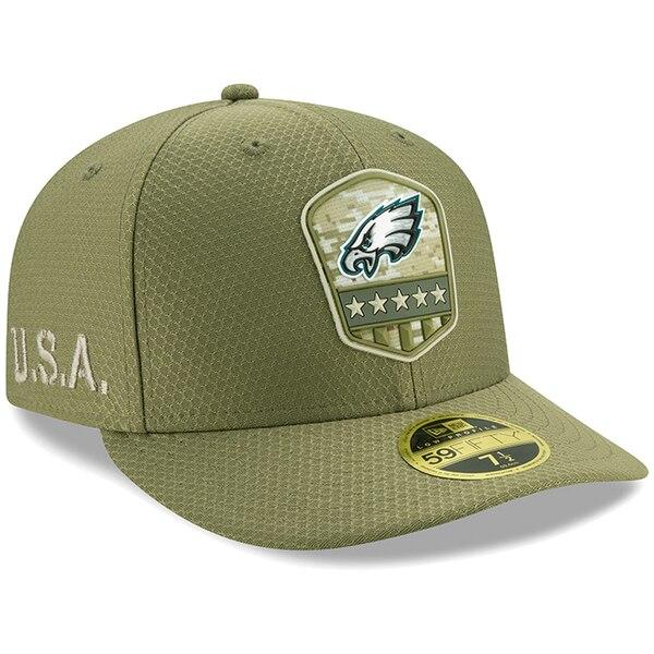 NFL イーグルス キャップ/帽子 2019 サルート トゥ サービス サイドライン ロープロファイル 59FIFTY ニューエラ/New Era オリーブ