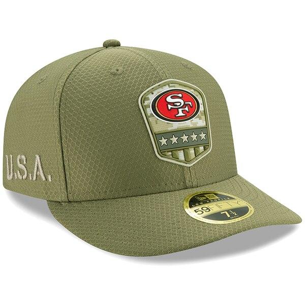 NFL 49ers キャップ/帽子 2019 サルート トゥ サービス サイドライン ロープロファイル 59FIFTY ニューエラ/New Era オリーブ