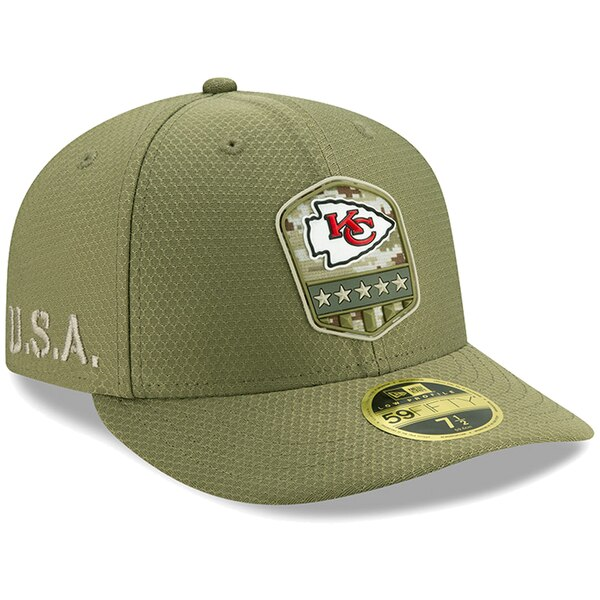 NFL チーフス キャップ/帽子 2019 サルート トゥ サービス サイドライン ロープロファイル 59FIFTY ニューエラ/New Era オリーブ
