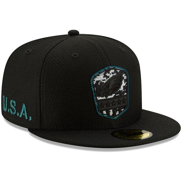 軍人に敬意と感謝を NFL特別デザインキャップ NFL イーグルス キャップ 帽子 2019 サルート ニューエラ 評価 New 59FIFTY サービス ブラック 訳ありセール 格安 Era トゥ 1911NFL変更