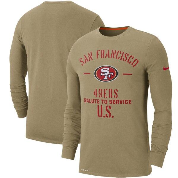 NFL 49ers Tシャツ 2019 サルート トゥ サービス サイドライン パフォーマンス ロング スリーブ ナイキ/Nike タン
