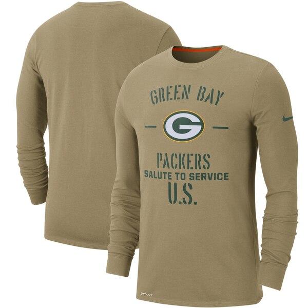 NFL パッカーズ Tシャツ 2019 サルート トゥ サービス サイドライン パフォーマンス ロング スリーブ ナイキ/Nike タン