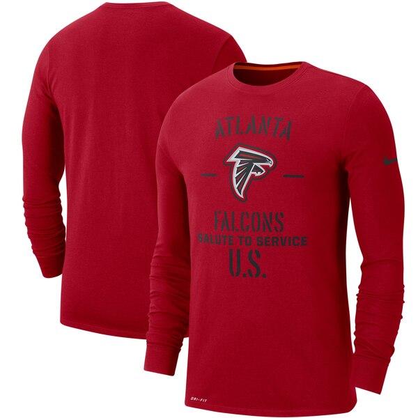 NFL ファルコンズ Tシャツ 2019 サルート トゥ サービス サイドライン パフォーマンス ロング スリーブ ナイキ/Nike レッド【1911NFL変更】
