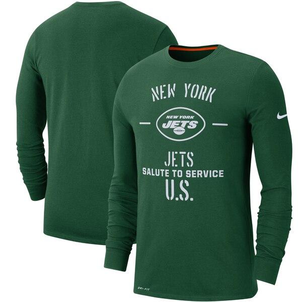NFL ジェッツ Tシャツ 2019 サルート トゥ サービス サイドライン パフォーマンス ロング スリーブ ナイキ/Nike グリーン【1911NFL変更】