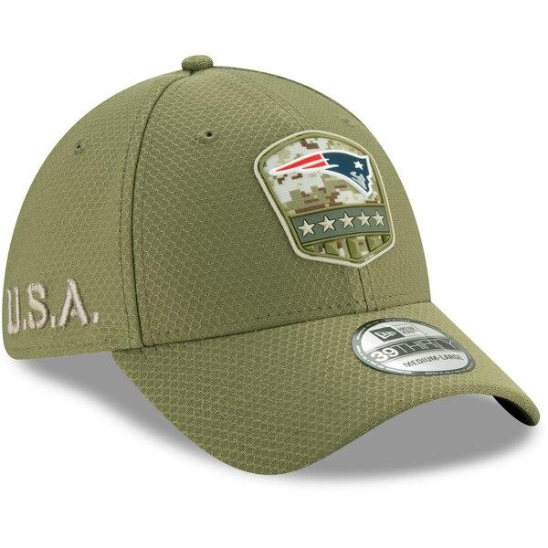 NFL ペイトリオッツ キャップ/帽子 2019 サルート トゥ サービス サイドライン 39THIRTY ニューエラ/New Era オリーブ【191028変更】
