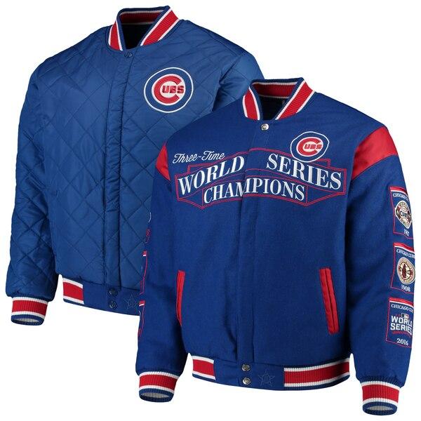 MLB シカゴ・カブス ジャケット/スタジャン/アウター ウール リバーシブル フルスナップ JH Design ロイヤル