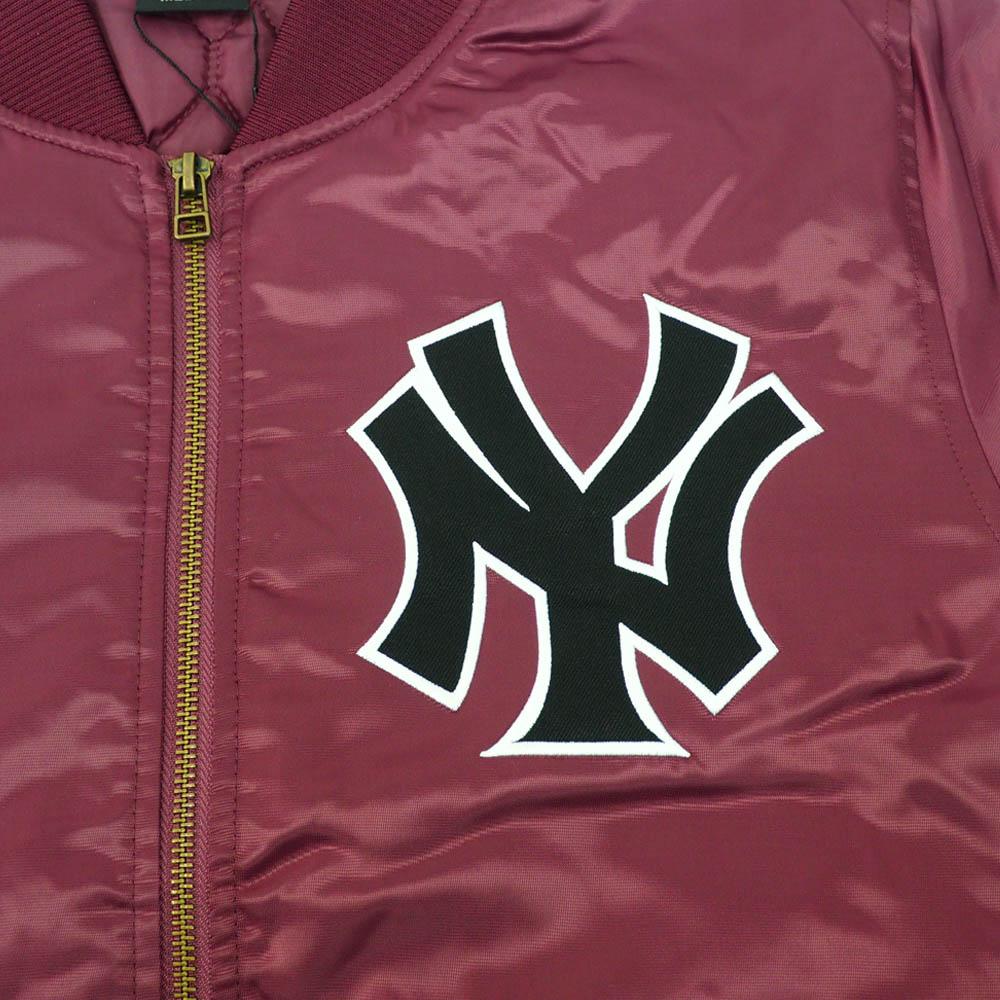 リニューアル記念メガセール ヤンキース スタジャン ジャケット アウター MA 1 マジェスティック Majestic バーガンディ0OPk8nw