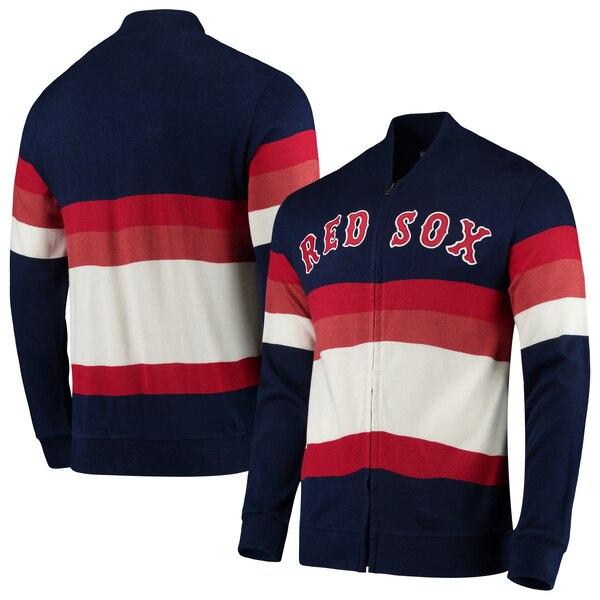 MLB ボストン・レッドソックス ジャケット/アウター フロント ストライプ フルジップ セーター ミッチェル&ネス/Mitchell & Ness