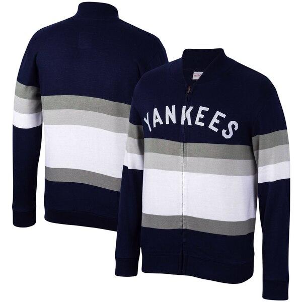 MLB ニューヨーク・ヤンキース ジャケット/アウター フロント ストライプ フルジップ セーター ミッチェル&ネス/Mitchell & Ness