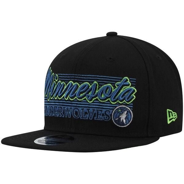 NBA ミネソタ・ティンバーウルブズ キャップ/帽子 レトロ ラインズ 9FIFTY ニューエラ/New Era ブラック