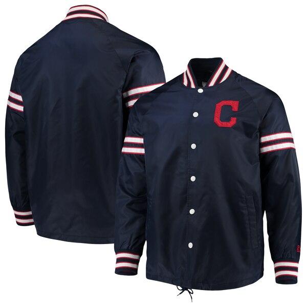 MLB クリーブランド・インディアンス ジャケット/アウター スキッパー コーチ フル スナップ G-III ネイビー