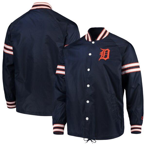 MLB デトロイト・タイガース ジャケット/アウター スキッパー コーチ フル スナップ G-III ネイビー