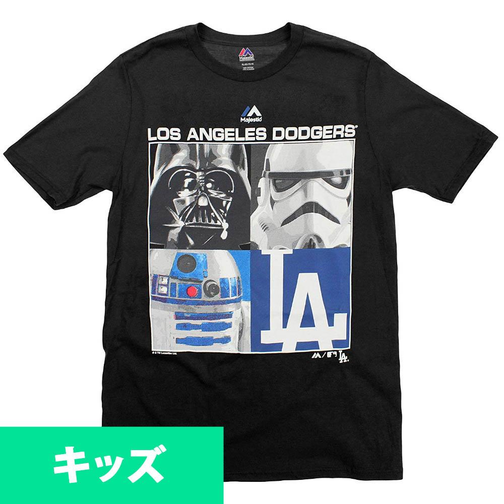 MLB ロサンゼルス・ドジャース Tシャツ ユース/キッズ スターウォーズ マジェスティック/Majestic ブラック