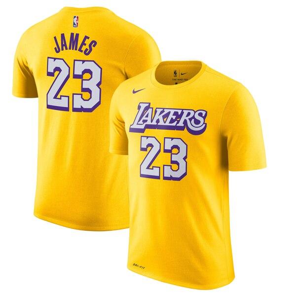 レブロン ジェームス レイカーズ Tシャツ ナイキ Nike NBA 2019/20 シティエディション ネーム & ナンバー ゴールド