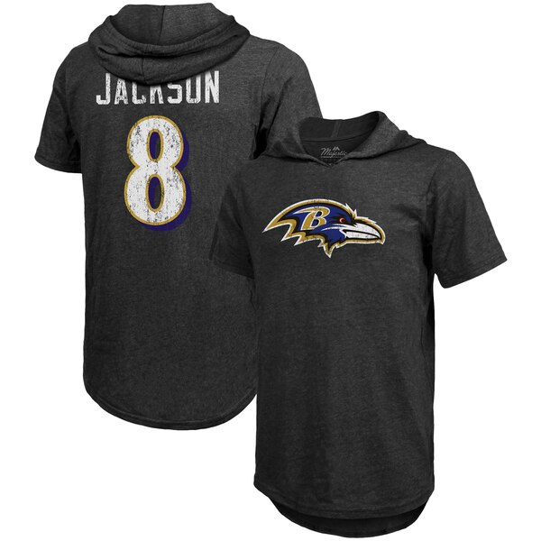 NFL ラマー・ジャクソン レイブンズ Tシャツ スレッド ネーム & ナンバー トライブレンド フーディー マジェスティック/Majestic