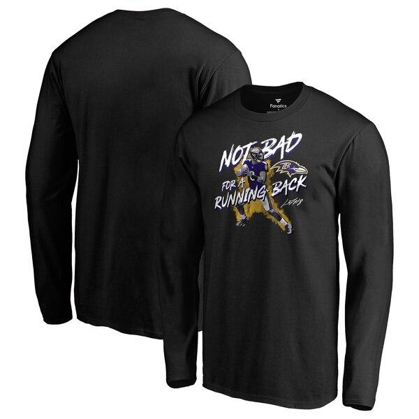 正規品送料無料 新品未使用正規品 グラフィティ風のプレーヤーがデザインされたTシャツ NFL ラマー ジャクソン レイブンズ ロングスリーブ Tシャツ バッド ブラック ノット