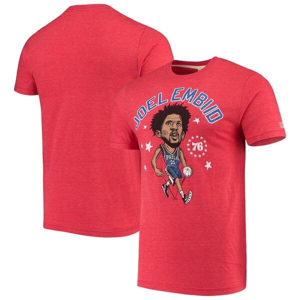 NBA ジョエル・エンビード フィラデルフィア・76ers Tシャツ カリカチュア トライブレンド Homage レッド