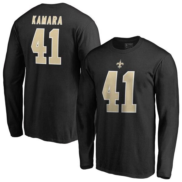 NFL アルバン・カマラ セインツ Tシャツ オーセンティック スタック ネーム & ナンバー ロングスリーブ ブラック