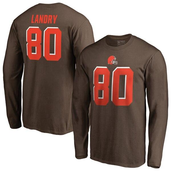 NFL ジャービス・ランドリー ブラウンズ Tシャツ オーセンティック スタック ネーム & ナンバー ロングスリーブ ブラウン