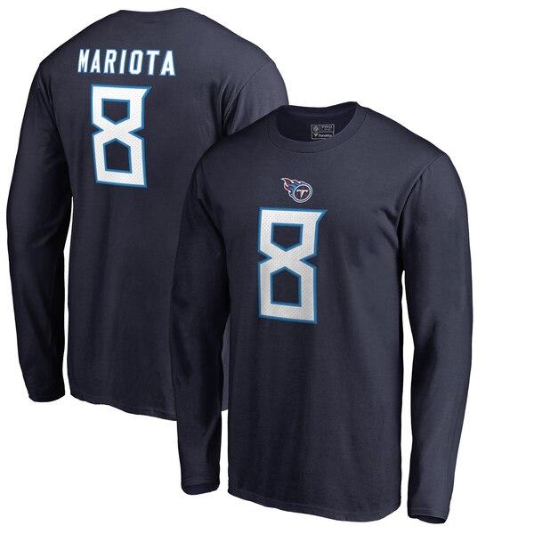 NFL マーカス・マリオタ タイタンズ Tシャツ オーセンティック スタック ネーム & ナンバー ロングスリーブ ネイビー