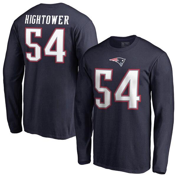 NFL ドンタ・ハイタワー ペイトリオッツ Tシャツ オーセンティック スタック ネーム & ナンバー ロングスリーブ ネイビー