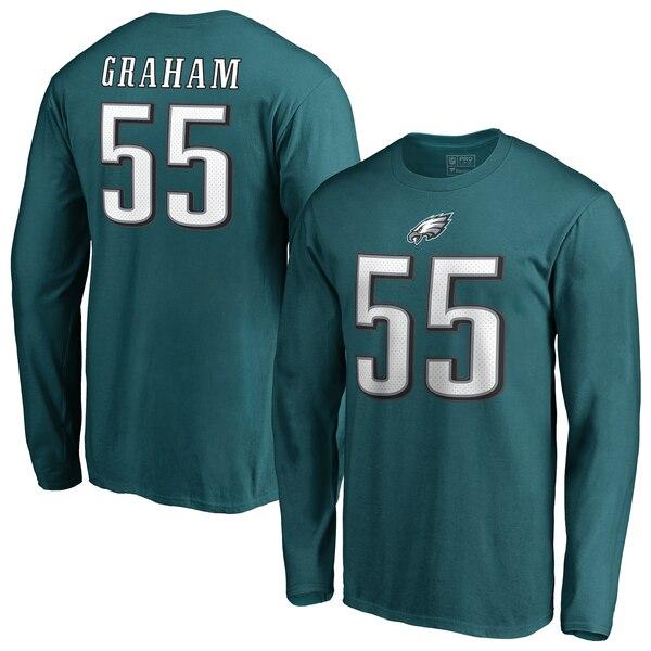 NFL ブランドン・グラハム イーグルス Tシャツ オーセンティック スタック ネーム & ナンバー ロングスリーブ ミッドナイトグリーン
