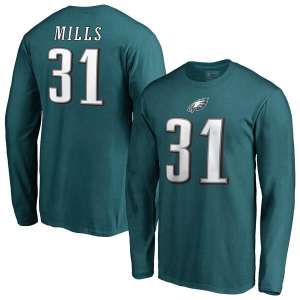 NFL ジェイレン・ミルズ イーグルス Tシャツ オーセンティック スタック ネーム & ナンバー ロングスリーブ ミッドナイトグリーン