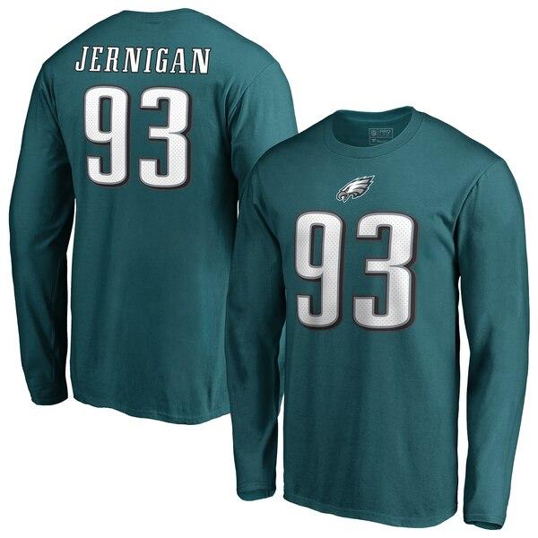 NFL ティミー・ジャーニガン イーグルス Tシャツ オーセンティック スタック ネーム & ナンバー ロングスリーブ ミッドナイトグリーン