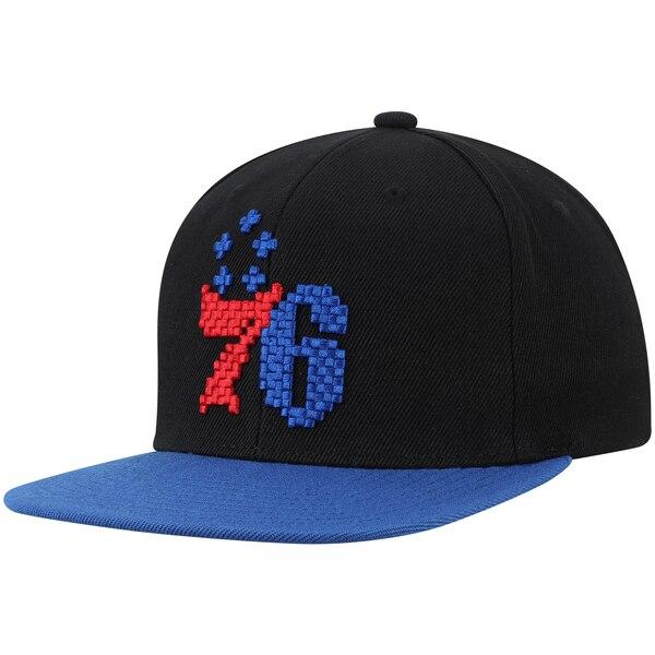 NBA フィラデルフィア・76ers キャップ/帽子 8ビット ツートーン アジャスタブル ミッチェル&ネス/Mitchell & Ness ブラック