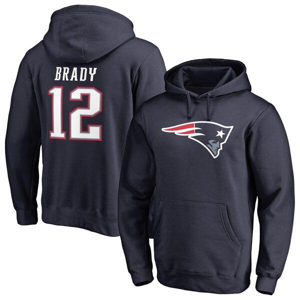 NFL トム・ブレイディ ペイトリオッツ パーカー/フーディー ネーム & ナンバー プルオーバー ネイビー